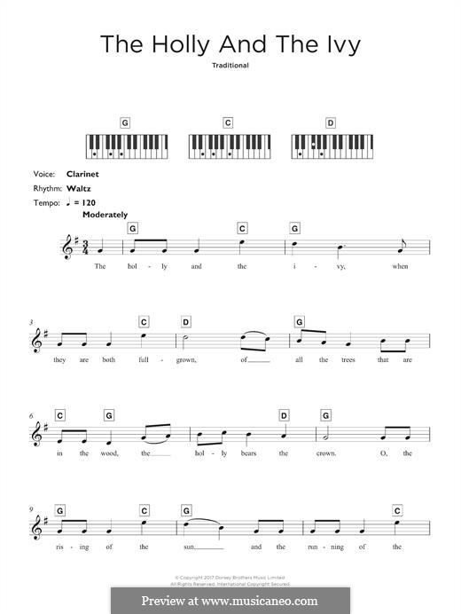 The Holly and the Ivy: For keyboard by folklore