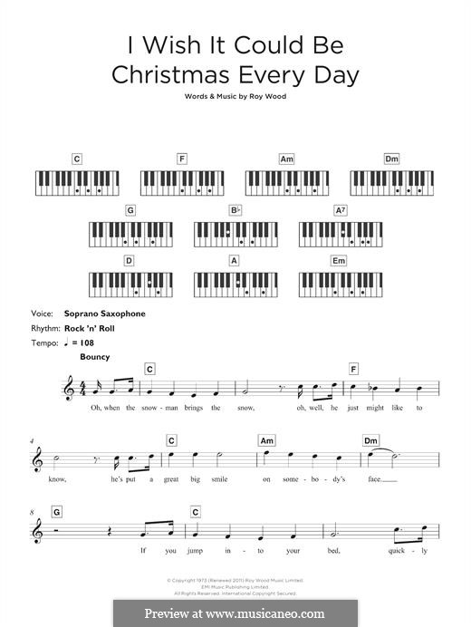 I Wish It Could Be Christmas Every Day (Wizzard): For keyboard by Roy Wood