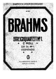 String Quartet No.1 in C Minor, Op.51: Version for piano four hands by Johannes Brahms
