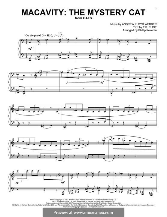 Macavity: The Mystery Cat (from Cats): For piano by Andrew Lloyd Webber
