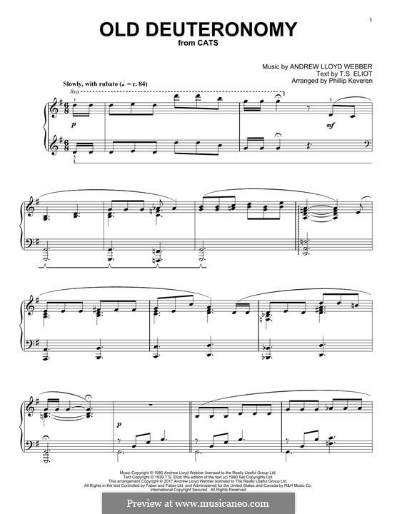 Old Deuteronomy: For piano by Andrew Lloyd Webber
