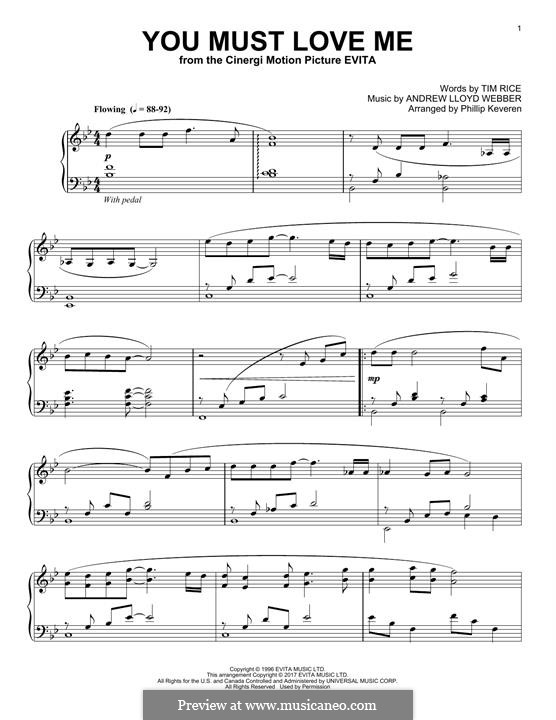 You Must Love Me: For piano by Andrew Lloyd Webber
