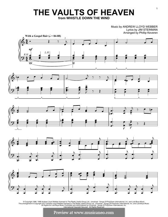 The Vaults of Heaven (from Whistle Down the Wind): For piano by Andrew Lloyd Webber
