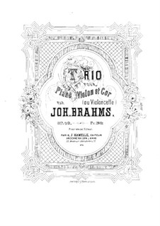Trio for French Horn (or Cello), Violin and Piano, Op.40: Full score by Johannes Brahms