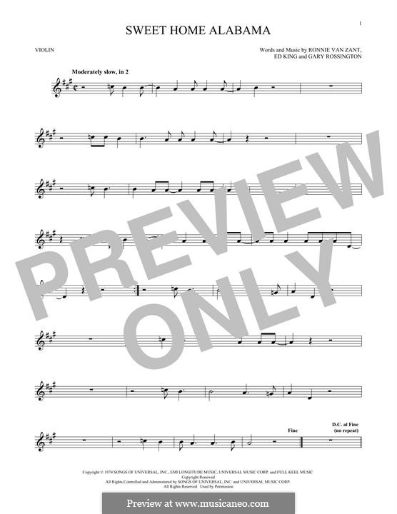 Sweet Home Alabama (Lynyrd Skynyrd): For violin by Ed King, Gary Rossington, Ronnie Van Zant