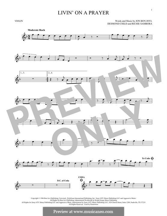 Livin' on a Prayer (Bon Jovi): For violin by Desmond Child, Jon Bon Jovi, Richie Sambora