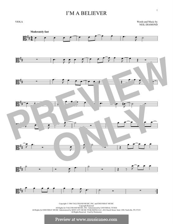 I'm a Believer: For viola by Neil Diamond