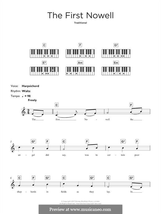 The First Nowell (The First Noël), Printable scores: For keyboard by folklore