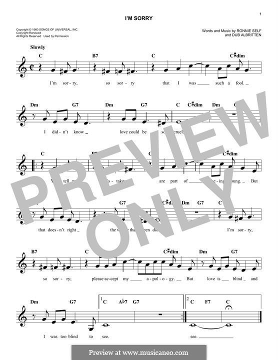 I'm Sorry (Brenda Lee): Melody line by Dub Albritten, Ronnie Self