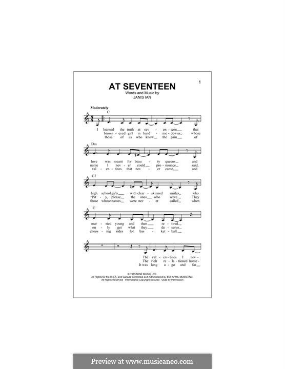 At Seventeen: Melody line by Janis Ian