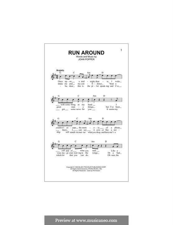 Run Around (Blues Traveler): Melody line by John Popper