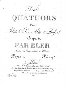 Three Quartets for Flute and String, Op.11: Violin part by André-Frédéric Eler