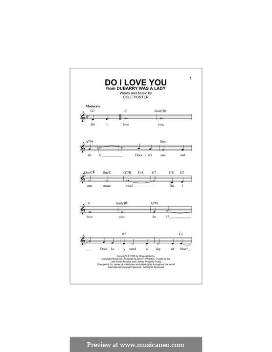 Do I Love You?: Melody line by Cole Porter