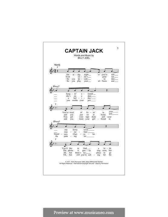 Captain Jack: Melody line by Billy Joel