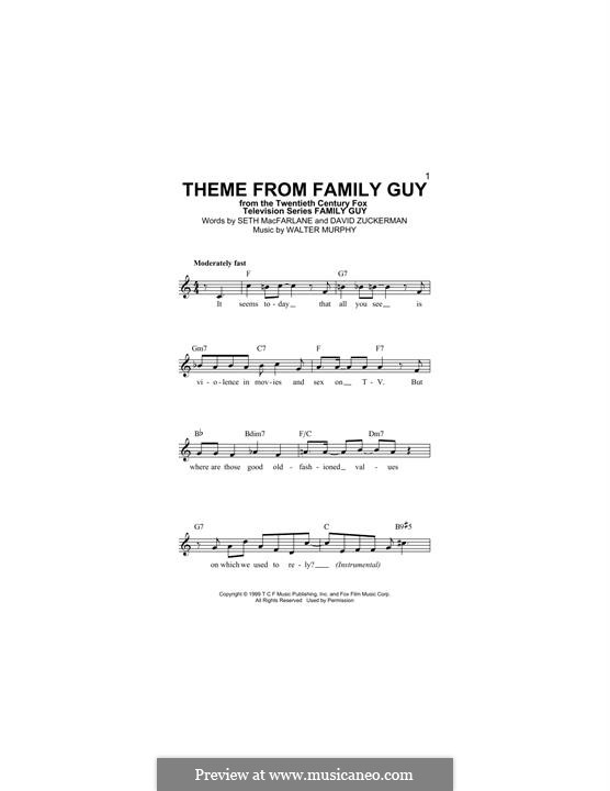 Theme from Family Guy: Melody line by David Zuckerman, Seth MacFarlane, Walter Murphy