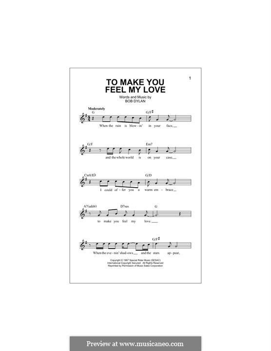 Make You Feel My Love: Melody line by Bob Dylan