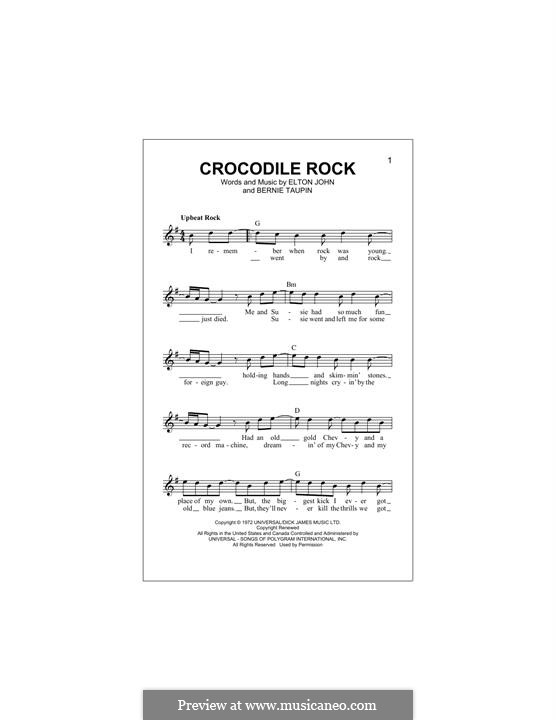 Crocodile Rock: Melody line by Elton John