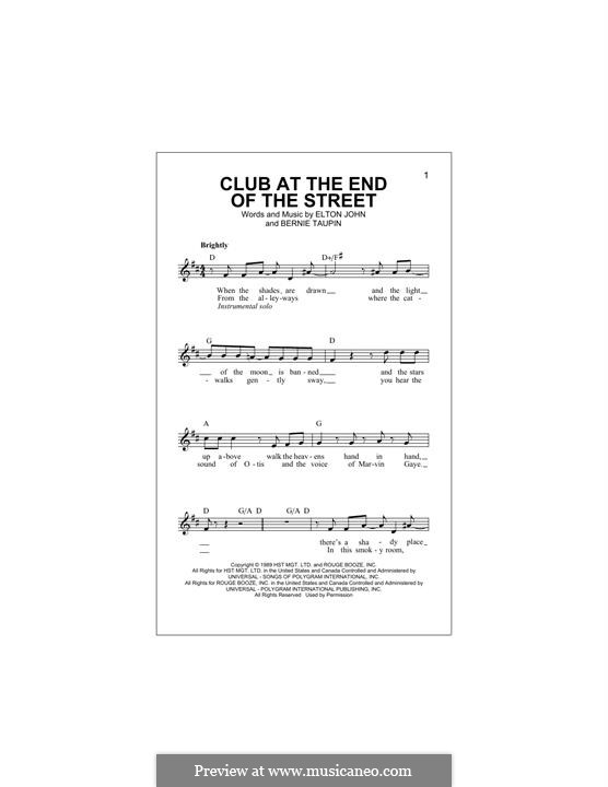 Club at the End of the Street: Melody line by Elton John
