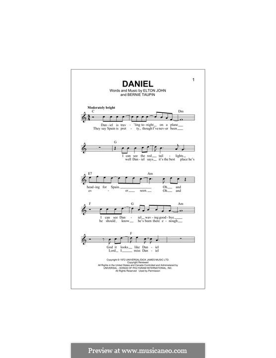 Daniel: Melody line by Elton John