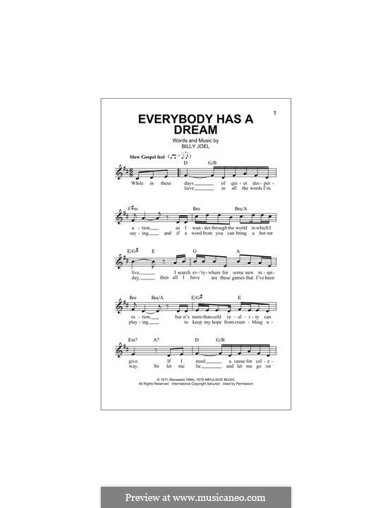 Everybody Has a Dream: Melody line by Billy Joel