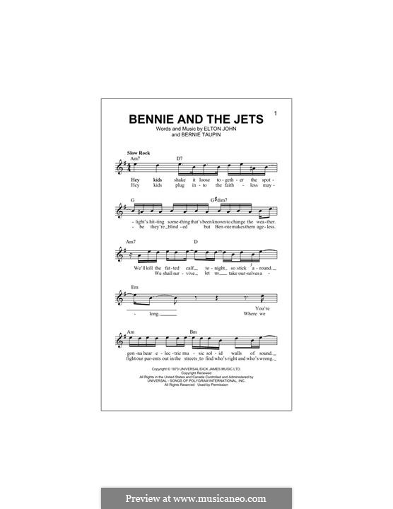 Bennie and the Jets: Melody line by Elton John
