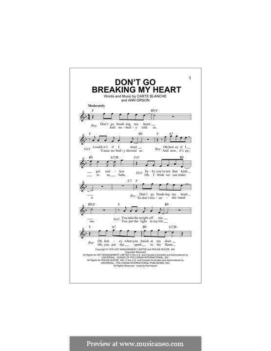 Don't Go Breaking My Heart (Elton John): Melody line by Ann Orson, Carte Blanche