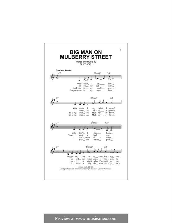 Big Man on Mulberry Street: Melody line by Billy Joel