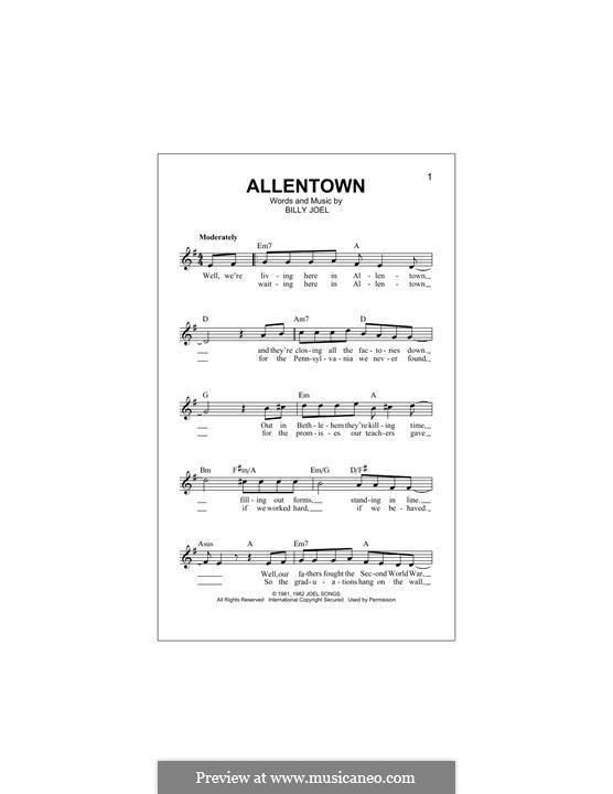 Allentown: Melody line by Billy Joel