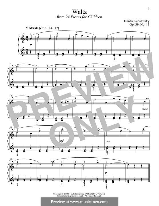 Twenty-Four Easy Pieces, Op.39: No.13 Waltz by Dmitri Kabalevsky