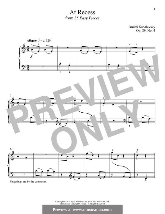 At Recess: For piano by Dmitri Kabalevsky