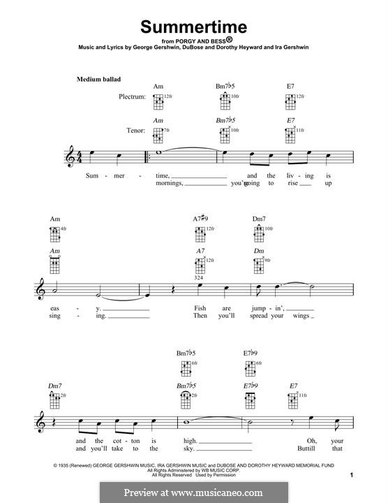 Summertime: For banjo by George Gershwin