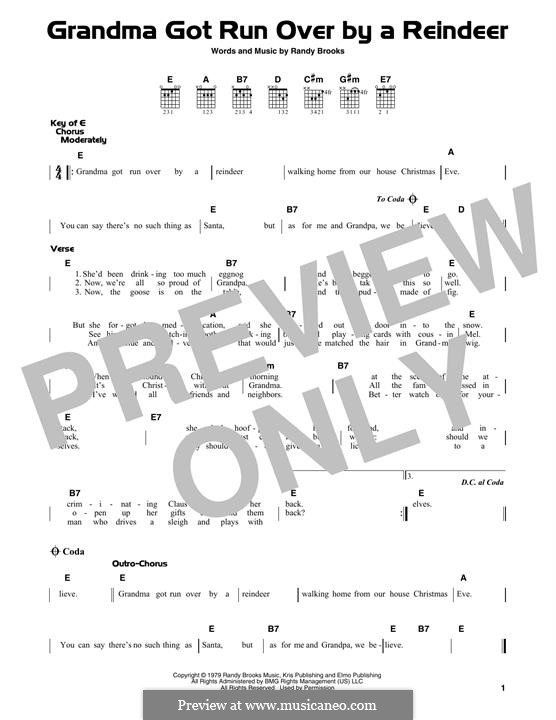Grandma Got Run Over By a Reindeer: For guitar with tab by Randy Brooks