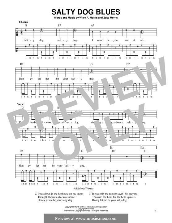 Salty Dog Blues (Flatt & Scruggs): For banjo by Wiley A. Morris, Zeke Morris