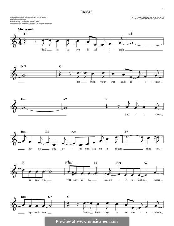 Triste: Melody line by Antonio Carlos Jobim