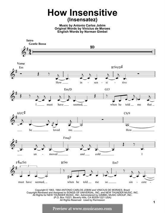 How Insensitive (Insensatez): Melody line by Antonio Carlos Jobim