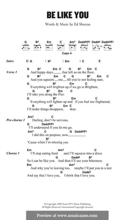 Be Like You: Lyrics and chords by Ed Sheeran