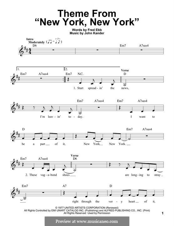 New York, New York (Frank Sinatra): Melody line by John Kander
