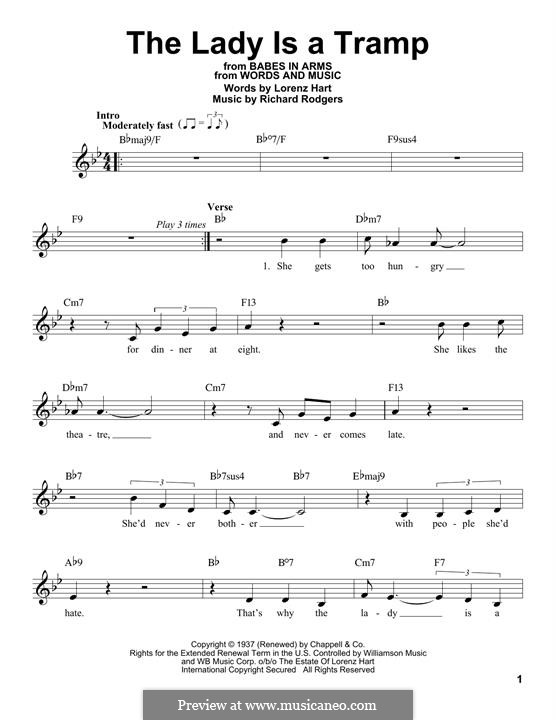 The Lady is a Tramp (Frank Sinatra): Melody line by Richard Rodgers
