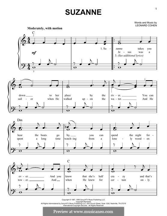 Suzanne: For piano by Leonard Cohen