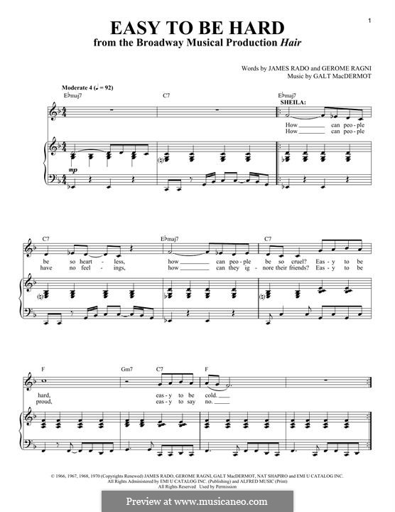 Easy To Be Hard: For voice and piano by Galt MacDermot