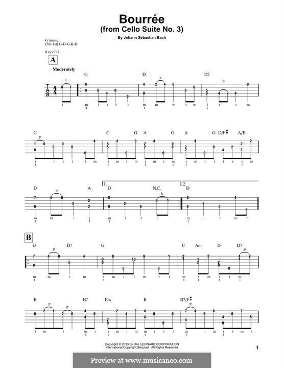 Suite for Cello No.3 in C Major, BWV 1009: Bourrée. Arrangement for banjo by Johann Sebastian Bach