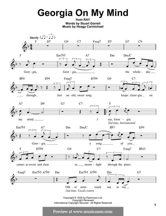 Georgia on My Mind: Melody line by Hoagy Carmichael