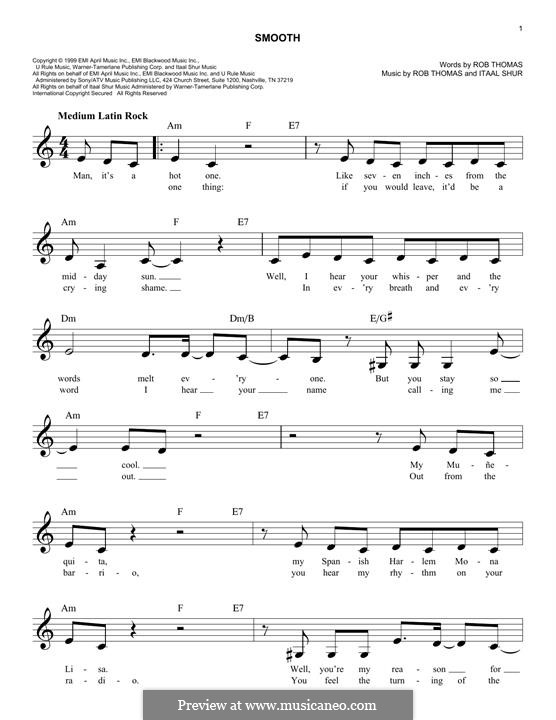 Smooth (Santana featuring Rob Thomas): Melody line by Itaal Shur, Rob Thomas