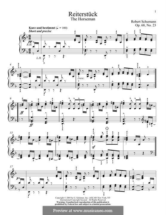 No.23 Reiterstück (The Horseman): For piano by Robert Schumann
