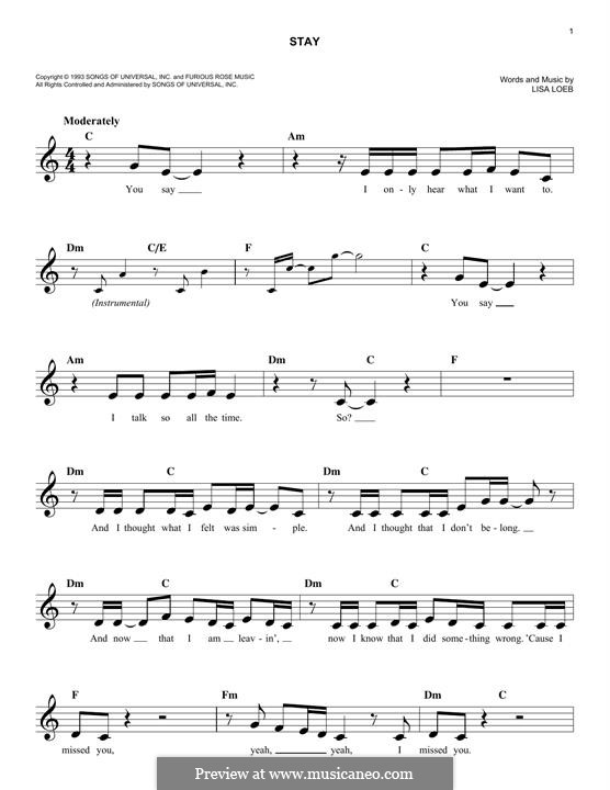Stay By L Loeb Sheet Music On Musicaneo