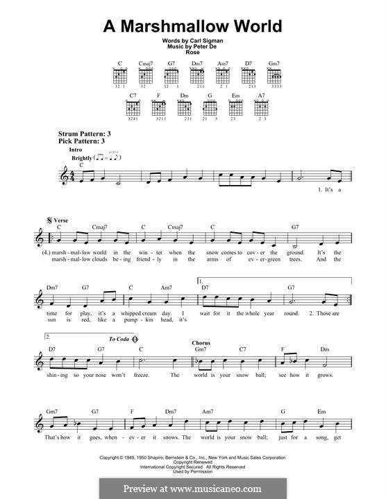 A Marshmallow World: For guitar with tab by Peter de Rose