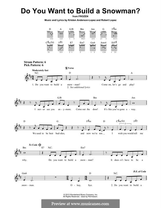 Do You Want to Build a Snowman? (Kristen Bell): For guitar by Robert Lopez, Kristen Anderson-Lopez