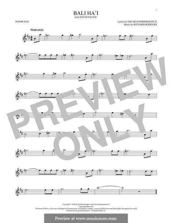 Bali Ha'i: For tenor saxophone by Richard Rodgers