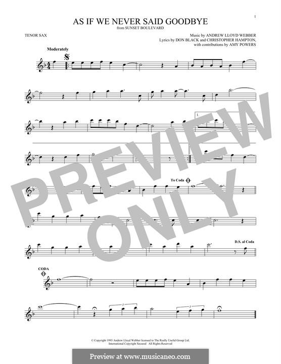As if We Never Said Goodbye: For tenor saxophone by Andrew Lloyd Webber