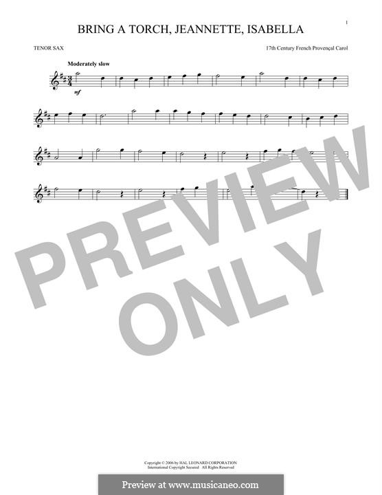 Bring a Torch, Jeannette Isabella: For tenor saxophone by folklore